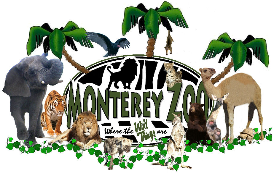 Monterey Zoological Logo with zebra oval bg grn FB w-animals d sml